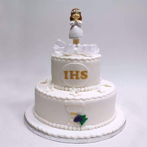 Afbeelding van White gold communie taart