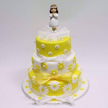 Afbeeldingen van Communie gele bloem taart