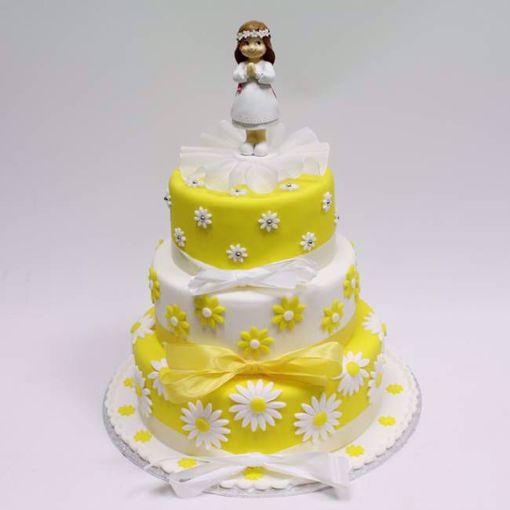 Afbeelding van Communie gele bloem taart