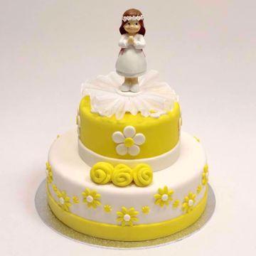 Afbeeldingen van Gele ronde roosjes taart