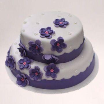 Afbeeldingen van Paarse bloem taart