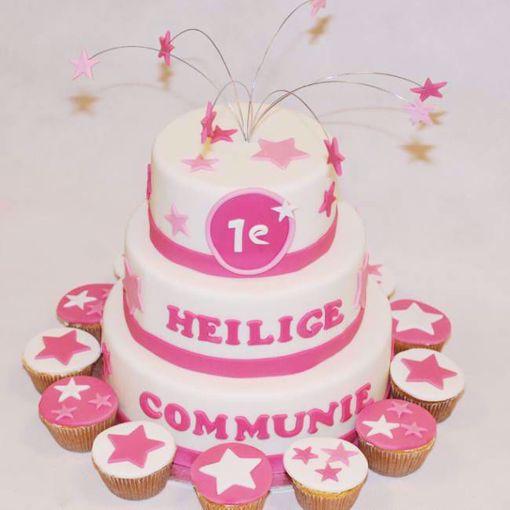 Afbeelding van Sterren Communie taart roze