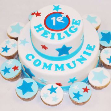 Afbeeldingen van Sterren Communie taart blauw