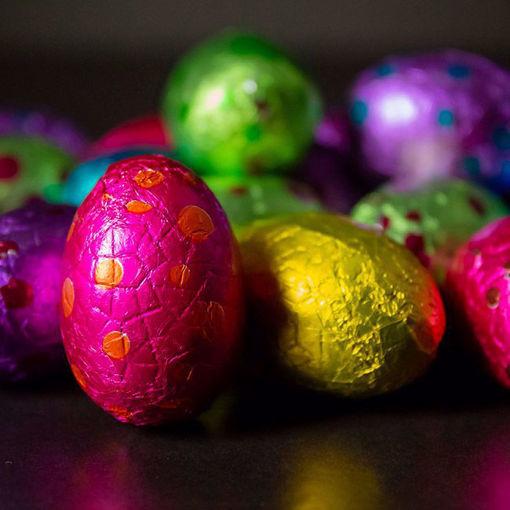 Afbeelding van Paas chocolade eitjes in cellofaan (150 gram)