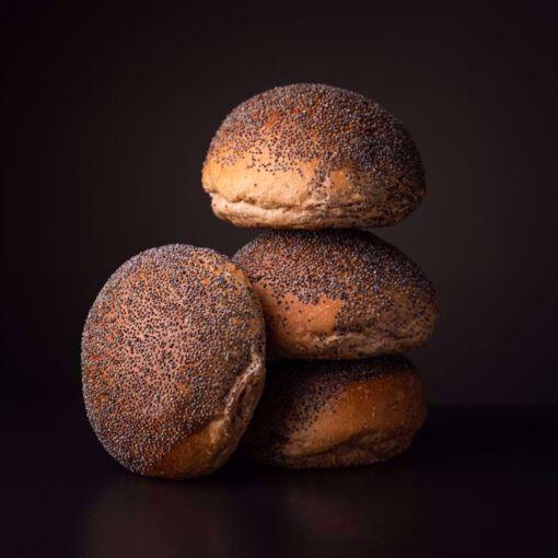Afbeelding van 6 x maanzaad broodje tarwe (per 6 verpakt)