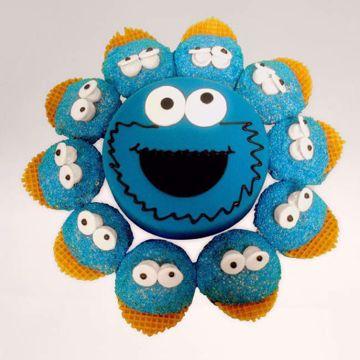 Afbeeldingen van (M058) Cupcake taart Cookie monster