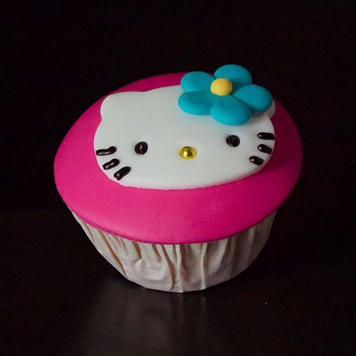 Afbeelding van Hello kitty muffin met gezichtje