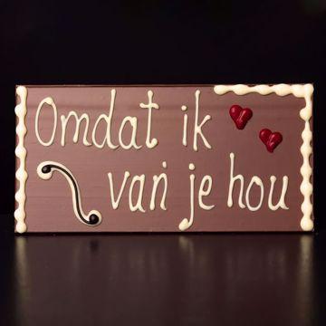 """Afbeeldingen van Choco tablet """"Omdat ik van je hou"""""""