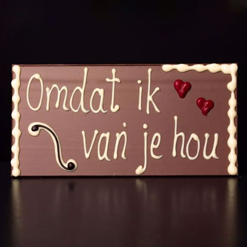 """Afbeelding van Choco tablet """"Omdat ik van je hou"""""""