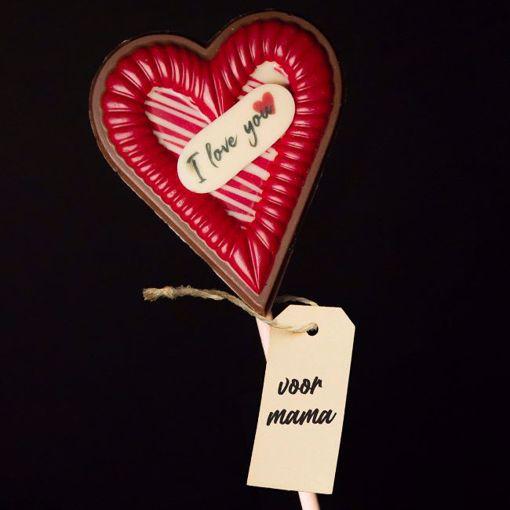 Afbeelding van Chocolade Moederdagshart op stok